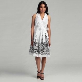 Evan Picone Women's Off White/ Black Wrap Dress