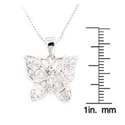 Icz Stonez Stering Silver CZ Filigree Butterfly Pendant