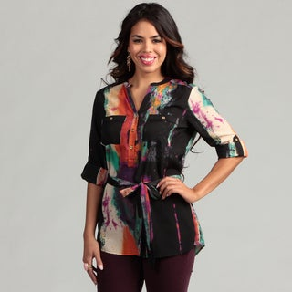 Calvin Klein Women's Abstract Print Rolled Sleeve Top FINAL SALE