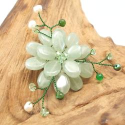 Dark Green Charming Lotus Flower Aventurine Stone Pin-Brooch (Thailand)