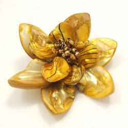 Yellow Water Lotus Mother of Pearl Floral Pin/Brooch (Thailand)