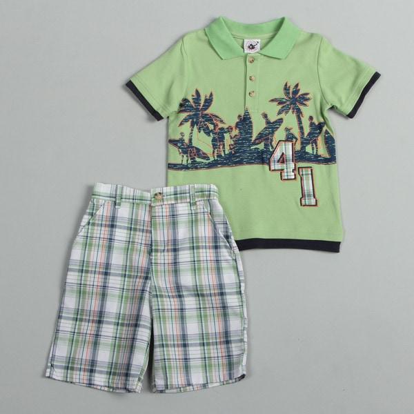 Good Lad Boy's (4-7) Surf Scene Polo Shirt and Shorts Set