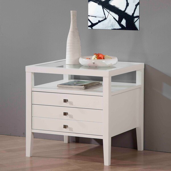 Aristo Gloss White End Table