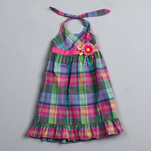 Good Lad Girl's Madras Halter Dress