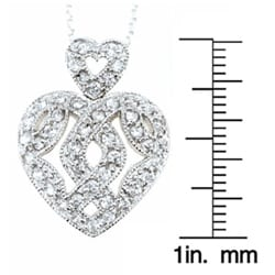 Icz Stonez Sterling Silver CZ Filigree Heart Pendant