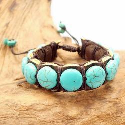 Round Turquoise Stones Leather Pull Slide Bracelet (Thailand)