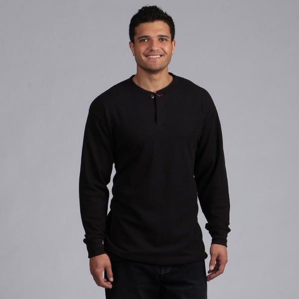 Farmall IH Men's Black Henley Long-Sleeve Top