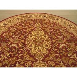 Hand-tufted Rust Simba Wool Rug (6' Round)