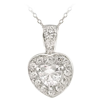 Icz Stonez Sterling Silver CZ Heart Pendant