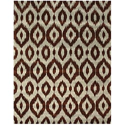 Hand-tufted Brown Ikat Wool Rug (7'9 x 9'9)