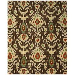 EORC Hand-tufted Wool Brown Ikat Rug (7'9 x 9'9)