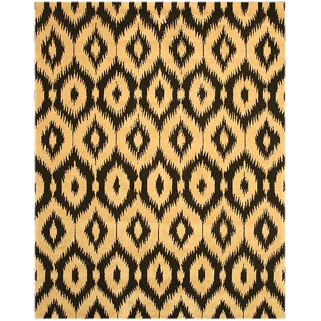 Hand-tufted Gold Ikat Wool Rug (7'9 x 9'9)