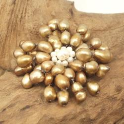 Brown Retro Floral Freshwater Pearl Pin-Brooch (Thailand)