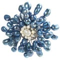 Blue Dyed Freshwater Pearls Retro Floral Pin-Brooch (Thailand)