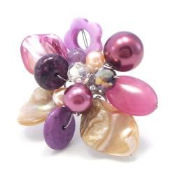 Handmade Purple Floral Cluster Mother of Pearl Free-Size Cocktail Ring (Thailand)