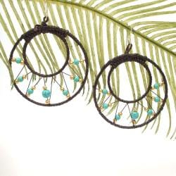 Pretty Blue Turquoise-Brass Web Hoop Earrings (Thailand)