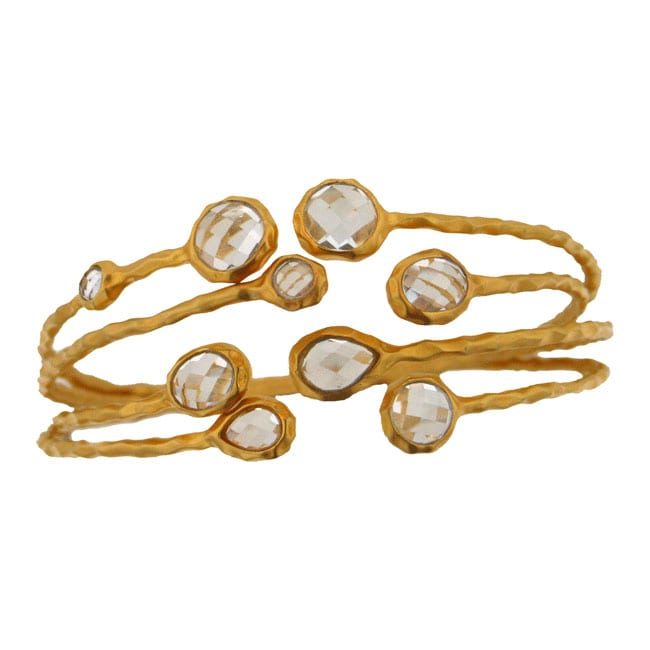 Gold over Sterling Silver White Topaz 4-piece Cuff Bracelet Set
