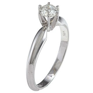 14k Gold 1/2ct TDW Certified Round Diamond Solitaire Ring (G-H, I1-I2) (Size 6.5)