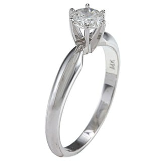 14k Gold Certified 1/2ct TDW Round Solitaire Diamond Ring (F-G, SI2)