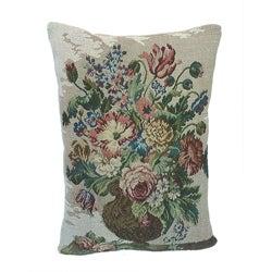 Corona Decor French Woven Flower Theme Blue/Green Decorative Pillow