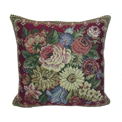 Corona Decor French Woven Flower Theme Suqare Decorative Pillow