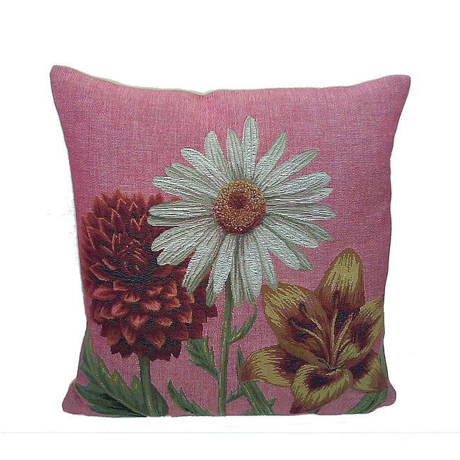 Corona Decor French Woven Flower Theme Gold/Red Decorative Pillow