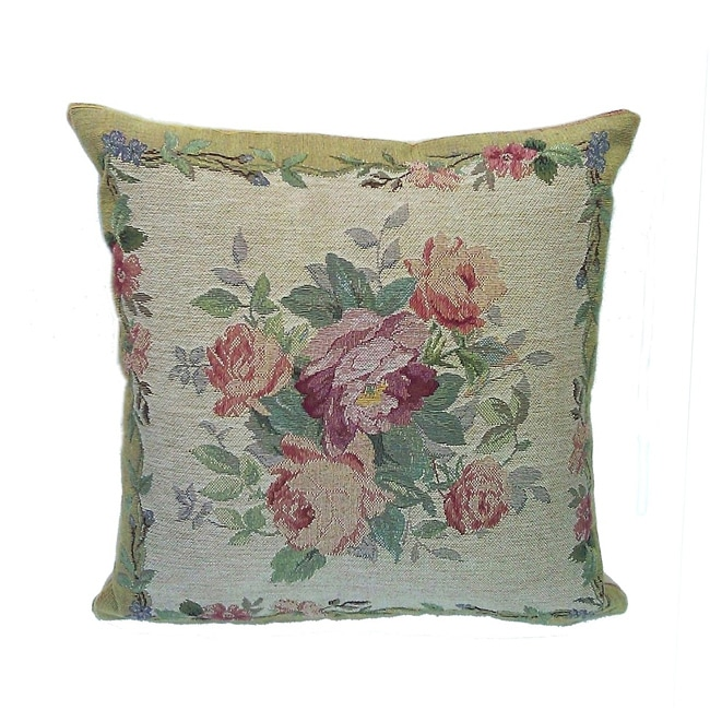 Corona Decor French Woven Flower Theme Rose/Green Decorative Pillow
