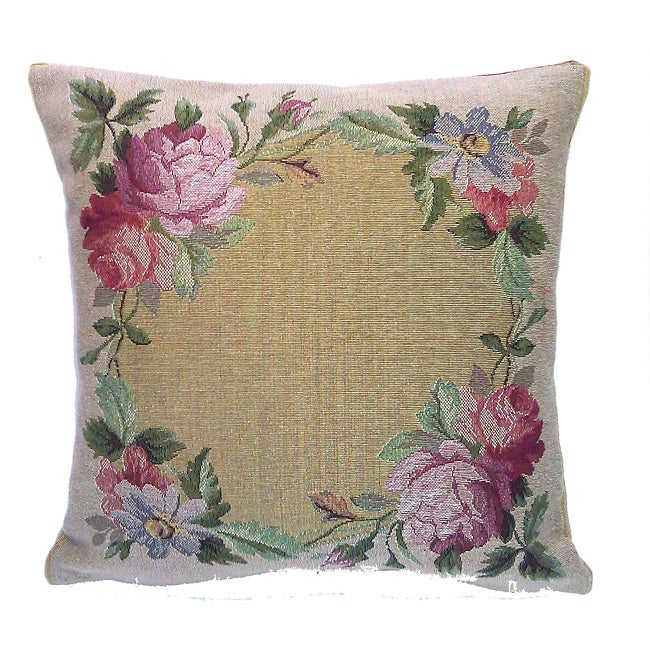 Corona Decor French Woven Flower Theme Decorative Pillow with Zipper Closure