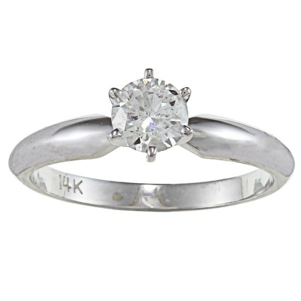 Victoria Kay 14k Gold 1/2ct TDW Certified Diamond Solitaire Engagement Ring (F-G, I1-I2)