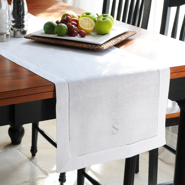 Personalized White Linen Hemstitch Table Runner