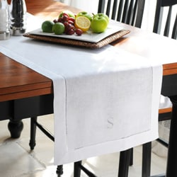 Monogrammed White Linen Hemstitch Table Runner