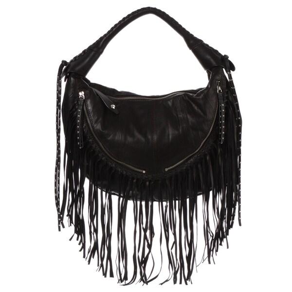 Oryany Black Fringe Leather Hobo Bag