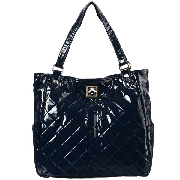 Kenneth Cole Reaction Quilted Patent Navy Blue Tote Bag
