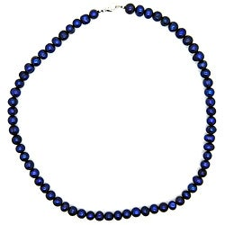 Pearlz Ocean Intense Blue Freshwater Pearl Necklace