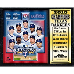 Texas Rangers 2010 American League Champions Stat Plaque