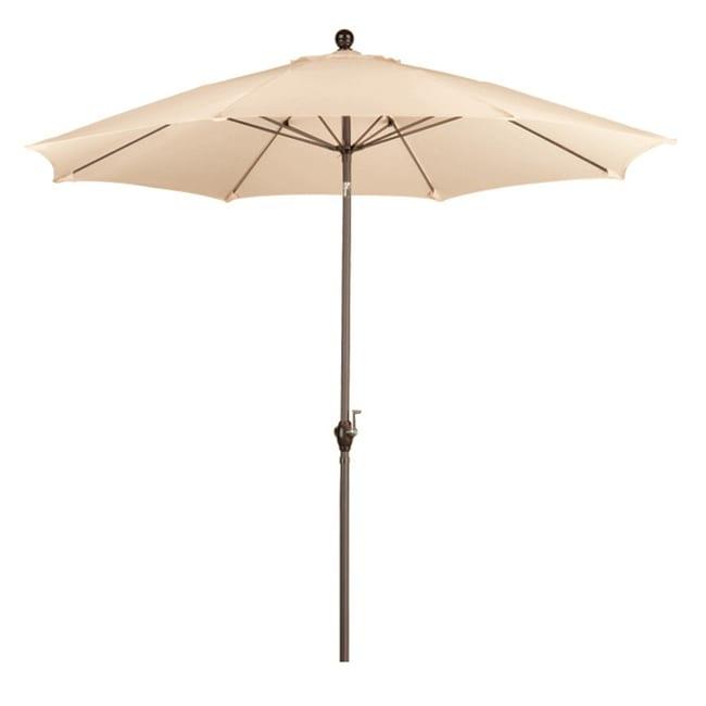 Fiberglass Antique Beige Poly Crank and Tilt 9-foot Umbrella