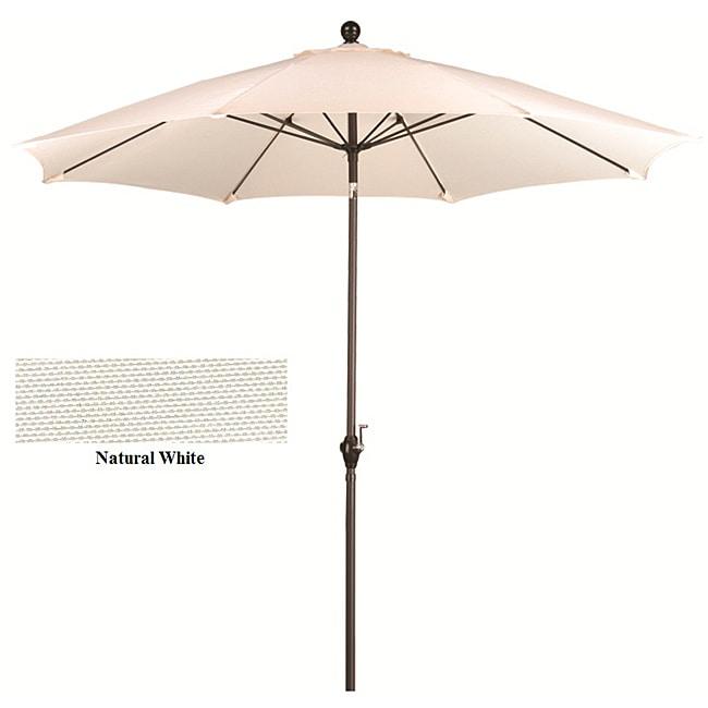 Fiberglass Natural White Poly Crank and Tilt 9-foot Umbrella