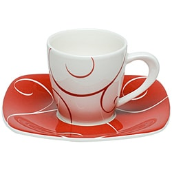 Red Vanilla Panache Rouge Espresso Cups and Square Saucers (Set of 6)