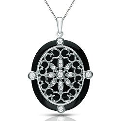 Auriya 14k White Gold Black Onyx and 1/4ct TDW Diamond Necklace (G-H, I1-I2)