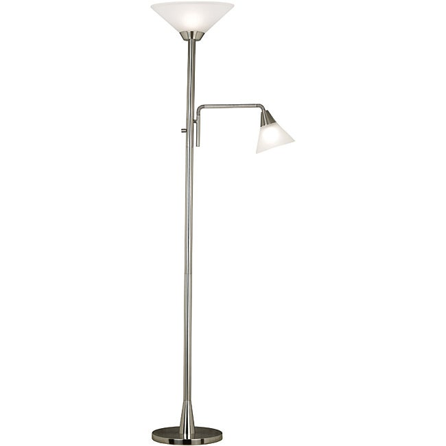 Rowe 72-inch 2-light Brushed Steel Torchiere