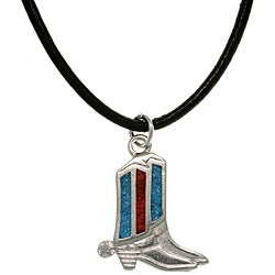 CGC Pewter Unisex Turquoise Cowboy Boot Necklace