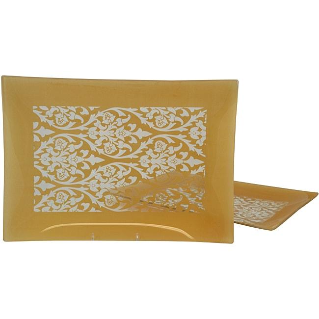 Gold Damask Rectangular Platter (Set of 2)
