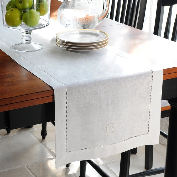 Personalized Cream Linen Hemstitch Table Runner