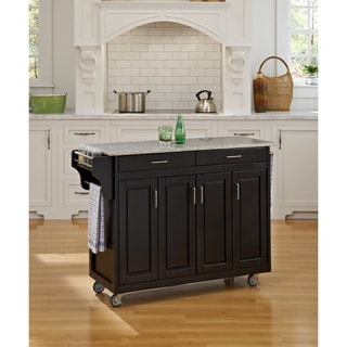 Home Styles 'Create-a-Cart' Black Finish Salt and Pepper Granite Top Cart