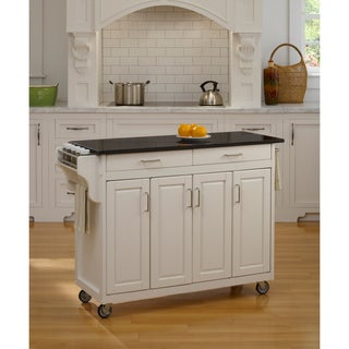 'Create-a-Cart' White Finish Black Granite Top Cart