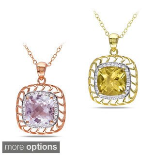 Miadora 18k Gold over Silver Gemstone and 1/6ct TDW Diamond Necklace (H-I, I3)