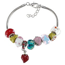 La Preciosa Silvertone Fruit Theme Strawberry Charm Bracelet