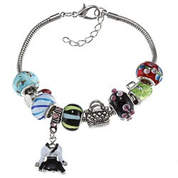 La Preciosa Silverplated Multi-colored Bead and Dress Charm Bracelet