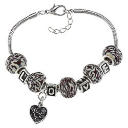 La Preciosa Silverplated Bead 'LOVE' and Heart Charm Bracelet