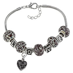 La Preciosa Silverplated Bead 'LOVE' and Heart Charm Pandora-style Bracelet